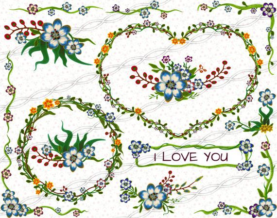 Digital download png Flower frames and borders clipart kit -  laurel bouquet hearts circles invitations birthday party valentine collage floral sheet set - cheap prices -  commercial use. https://www.etsy.com/il-en/listing/236920384/instant-digital-download-png-flower?ref=shop_home_active_6