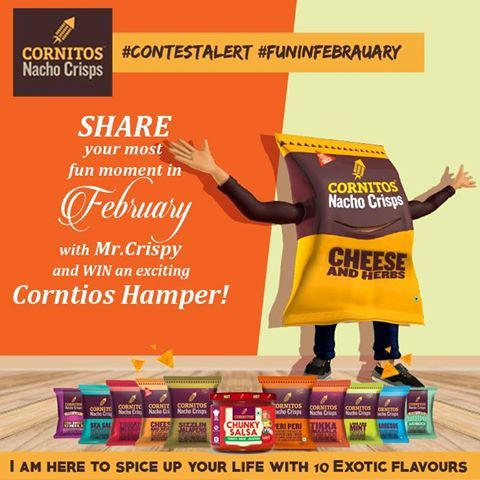 #ContestAlert #FunInFebruary Share your most fun moment in February with Mr.Crispy and WIN an exciting Corntios Hamper!  #LIKE #SHARE #COMMENT #TAG