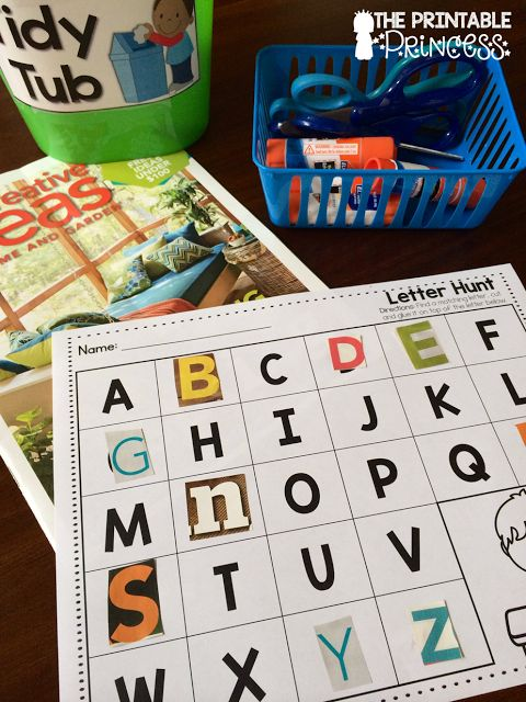 This center is a class favorite! Students hunt through magazines to find the matching letter. She has a free download on her blog.