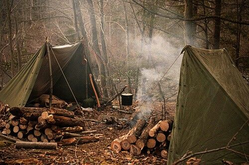Bushcraft camp, canvas shelter half tents