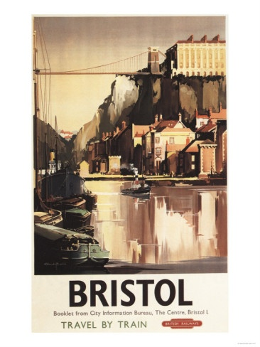 Bristol, England - Clifton Suspension Bridge and Boats British Rail Poster.  There is an important family story about this bridge and the Victoria lady who jumped from it...