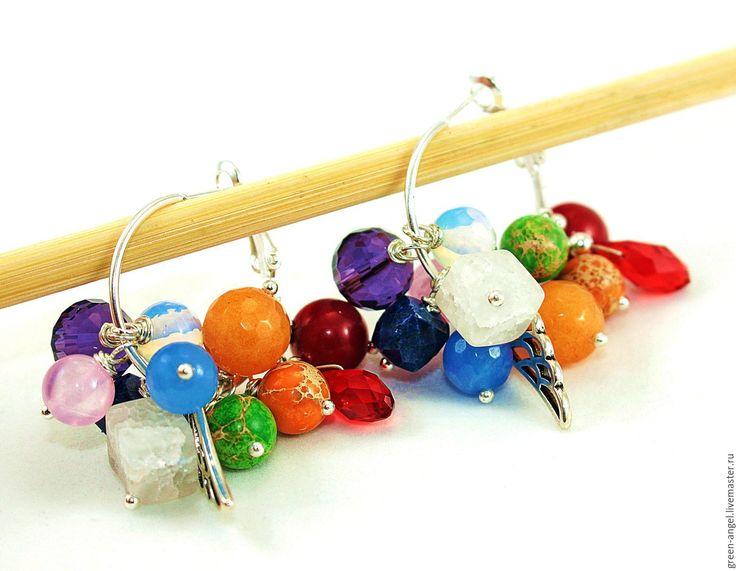 Купить Серьги «Раскрась свой день». - комбинированный, разноцветные серьги, разноцветные бусины,…