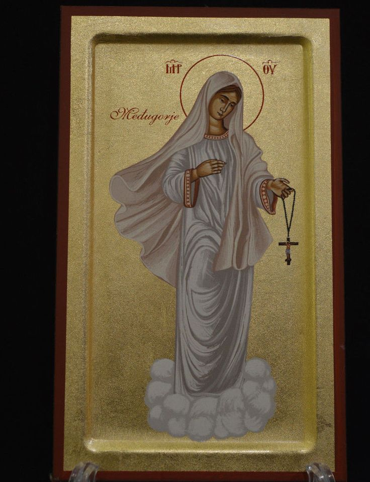 Handmade Serigraph Сatholic Icon of Virgin Mary in White Cloth