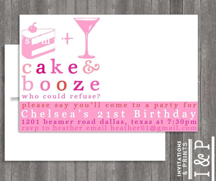 Girly Birthday Themed 21ST Birthday invite by invitationsandprints