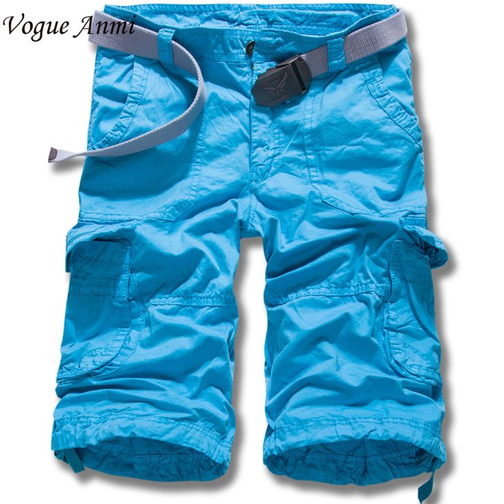 Vogue Anmi.2017 Shorts Men Bermuda Short Solid Color Men Homme Multi-Pocket Cargo Shorts Casual Loose Cotton Army Shorts NO BELT