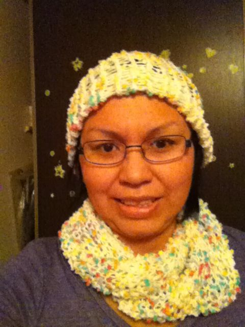 infinity scarf & toque on a knitting loom.