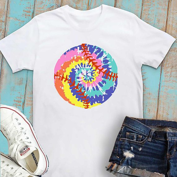 Tie Dye Softball And Baseball Watercolor Bright Boho Sublimation
