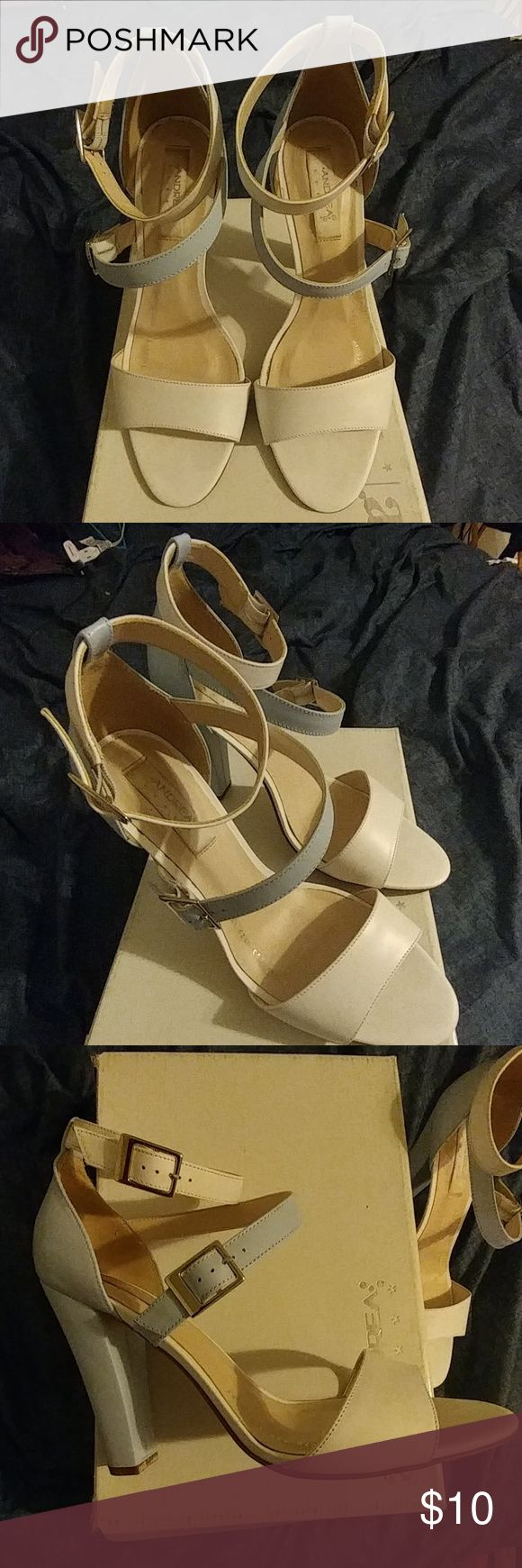 Women's strappy heels Sky blue and white strappy chunky heels, only worn twice. Brand: Andrea Shoes Heels