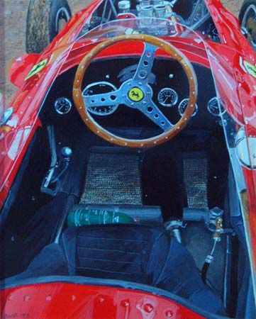 'Ferrari' Gouache on card 14 x 10 cms. Exhibited at Banqueting Hall, Piccadilly.