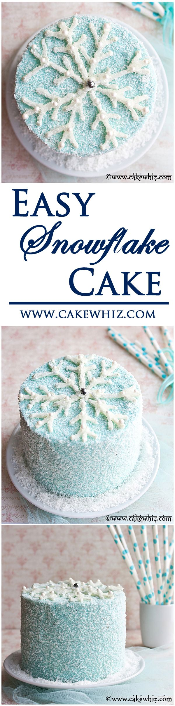 Stunning WINTER CAKE, topped off with a sparkly chocolate SNOWFLAKE plus there is a video tutorial so you can easily make one too. From cakewhiz.com