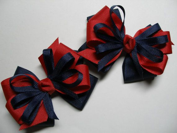 Back to Shool Hair Bows Pig Tail Pair Navy Blue USA Red School UNIFORM Toddler Girl Grosgrain set of 2