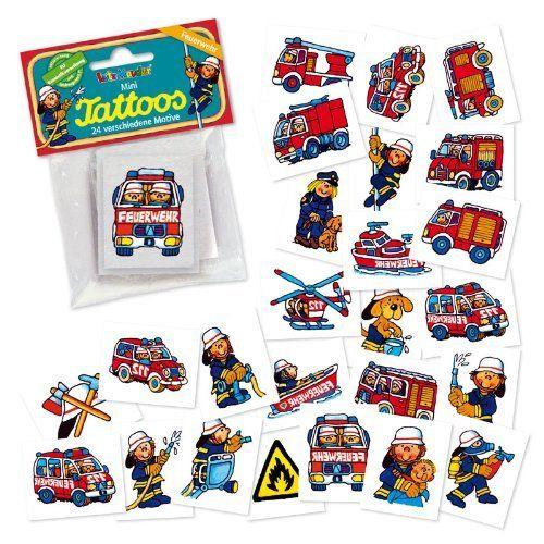 24 Mini-Tattoos * Feuerwehr * von LUTZ MAUDER // 47301 // Feuerwehrauto Feuerwehrmann Geschenk Tattoo Kindertattoos von Mauder, http://www.amazon.de/dp/B00DQOY0RQ/ref=cm_sw_r_pi_dp_sfmlsb184TWZF