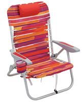 Red and Purple Striped Backpack Chair - sit in color and comfort!