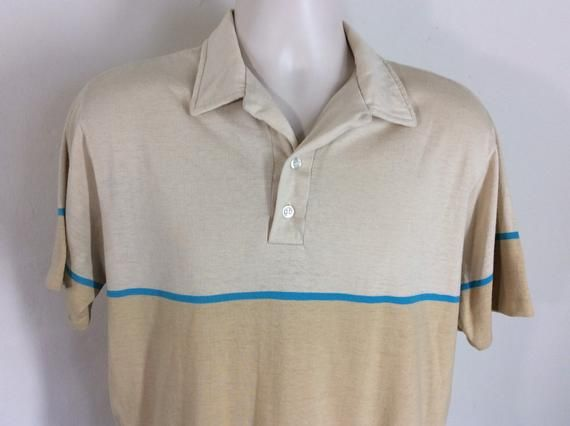 Vintage Striped Beige Cotton Button Down Shirt Size Small