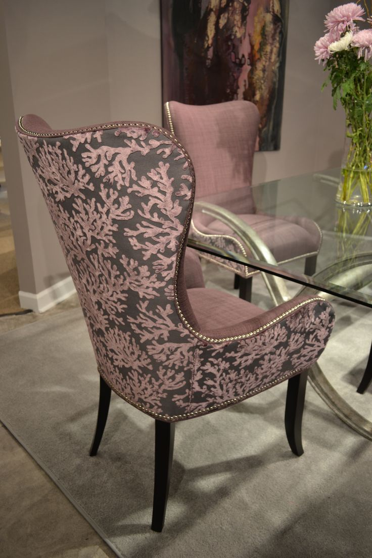 Designmaster Denmark Arm Chair With Beautiful Burnout Velvet Coral Pattern  In A Plum Coloration Designmaster Furniture