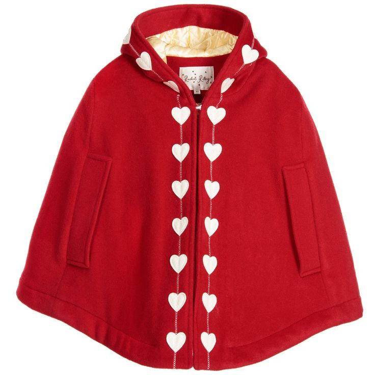 Rachel Riley - Red Wool Heart Trimmed Hooded Cape | Childrensalon