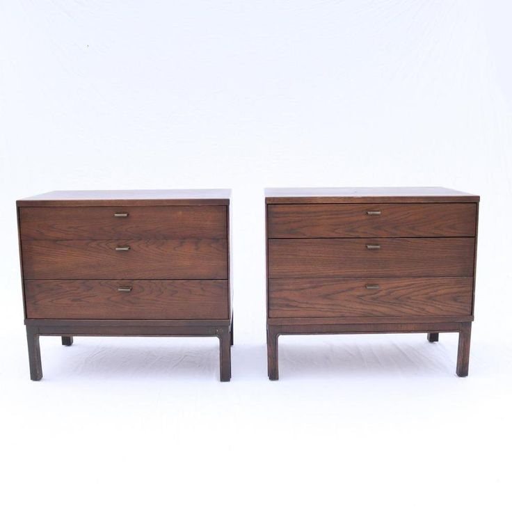 Paint gray  A Pair of Mid-Century Modern 3-Drawer Chests Founders? Walnut Bedside Tables #MidCenturyModern