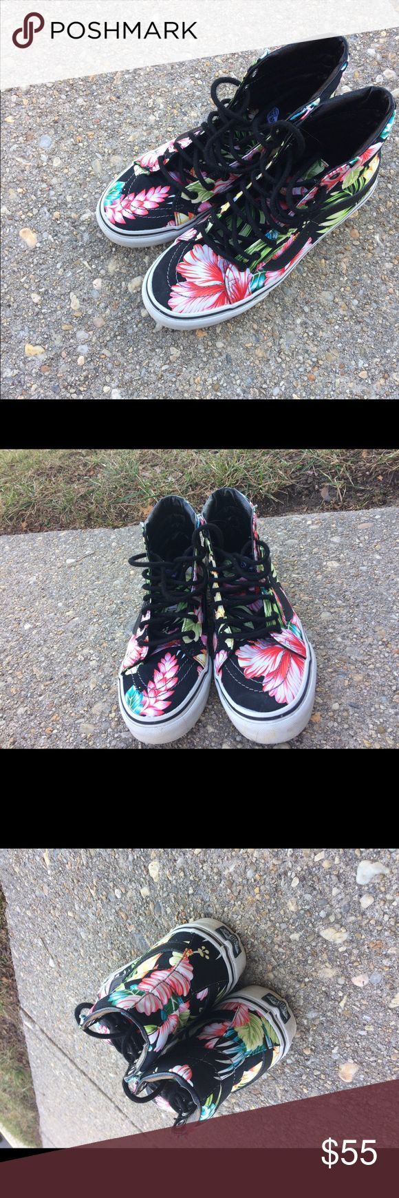 Floral high sk8 vans Good condition. Barely worn size 8 in women Vans Shoes Sneakers