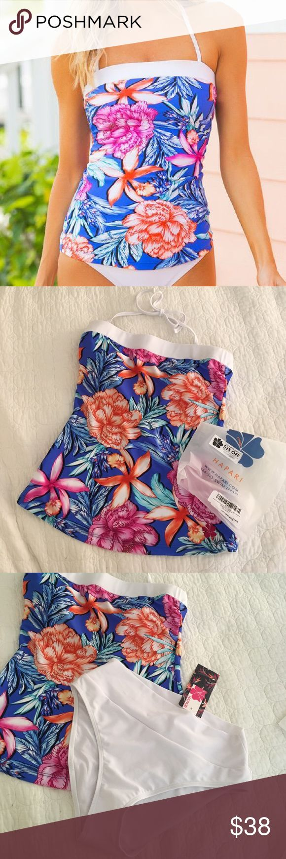 NWT hapari bandeau tankini Hapari new with tags never worn blue and fuchsia passion classic bandeau tankini with white high waisted bikini bottoms! Perfect condition never worn just didn't fit right! Top size is medium(8-10) and bottoms are also a medium hapari Swim Bikinis