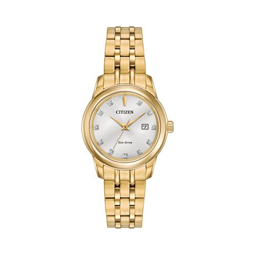Online Exclusive! Sophisticated and stylish, this ladies' watch from the Diamond collection by Citizen Eco-Drive® offers a combination of functional simplicity with a touch of elegance. This timepiece showcases a silver-tone dial with slender yellow go...