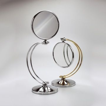 Contemporary Makeup Mirror - Brass   Windisch 99127D4 finishes with choices of 3x, 5x, 5xop, or 7xop magnifications.