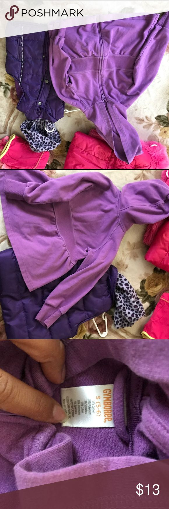 Gymboree purple sweater and purple vest Good condition purple Gymboree sweater 5-6 and Best with fleece leopard print hood 5-6. I will ship asap and thank you!! Gymboree Shirts & Tops Sweaters