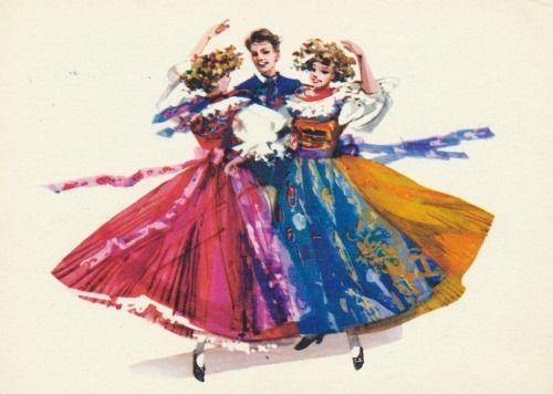 Folk costume from Bytom, Poland (strój rozbarski). Vintage postcard: drawing by Maria Orłowska-Gabryś.