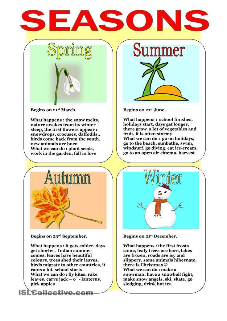 Best 25+ Seasons worksheets ideas on Pinterest | Preschool ...