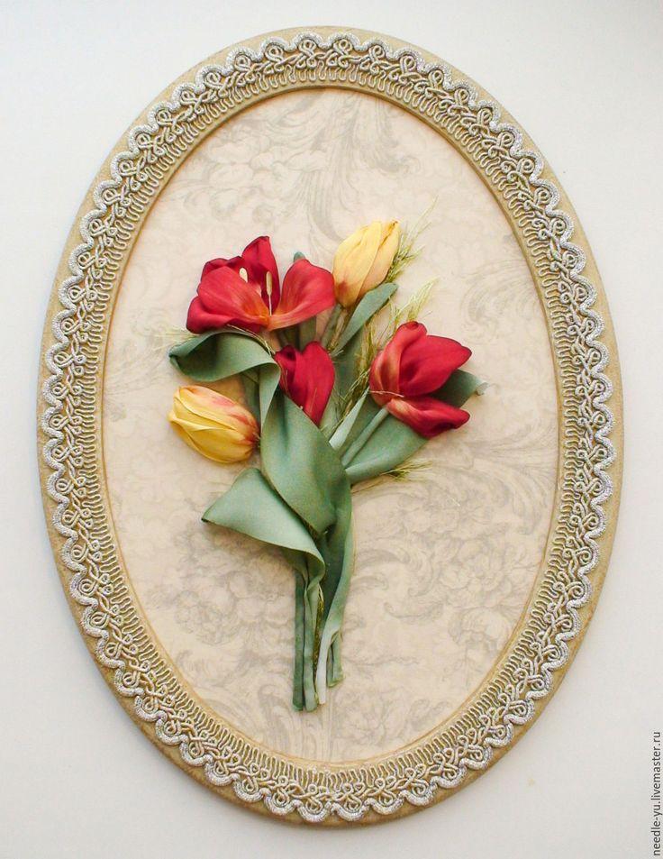 """Купить Вышитая картина """"Яркие тюльпаны"""" - ярко-красный, картина в подарок, картина для интерьера"""