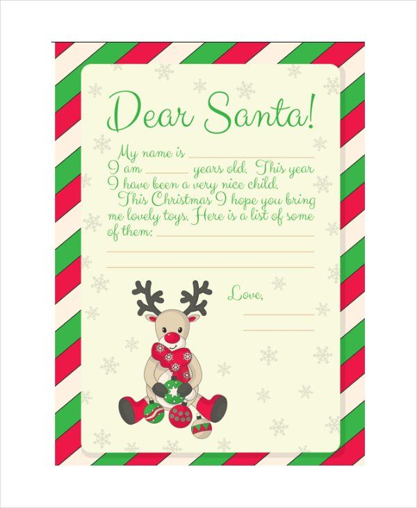 Santa List Templates 7+ Free Printable Word, Excel  PDF Christmas