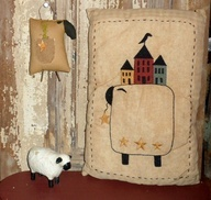 free patterns for saltbox houses | Country Sheep Saltbox House Stitched Pillow  – Primitive