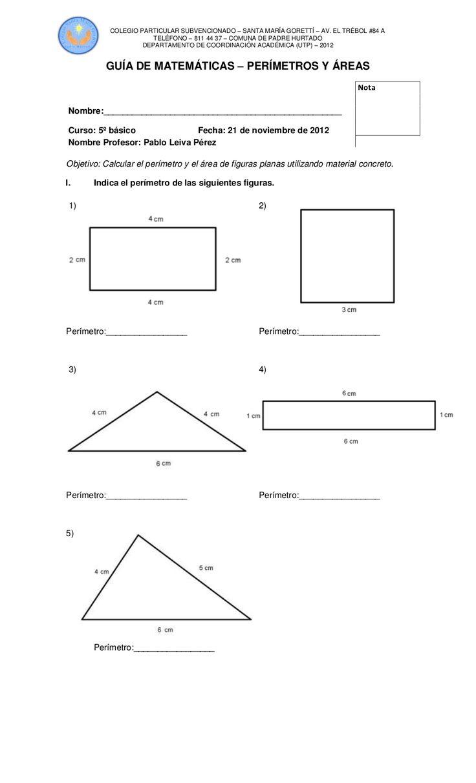 Guía de matemáticas perimetro area by Pablo Leiva via slideshare