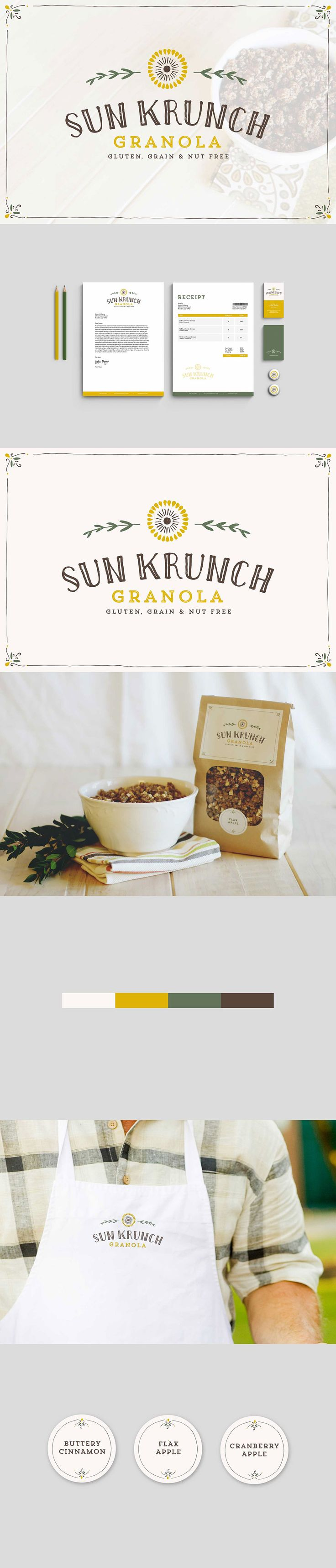 Sun Krunch Granola branding by Kristen Williams on Behance \\ Gluten, Grain and Nut Free, Paleo Granola