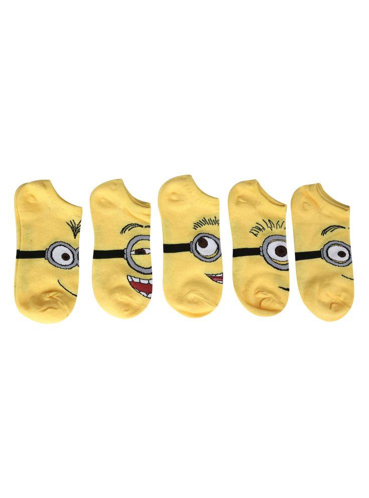 YAY!!!! Despicable Me 2 Minion No-Show Socks 5 Pair on Wanelo