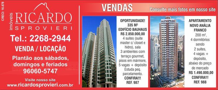 Anúncio - Ricardo Sprovieri Imóveis - 12/06/2015 #imovel #sp #zl #investimento #imobiliaria #tatuape #analiafranco