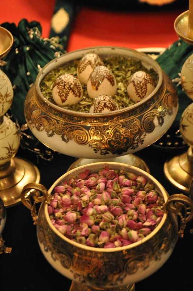 Dried roses and  the henna eggs represent prosperity for the bride and groom