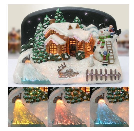 #ebay #Christmas #Snow #Village #Snowman and #Children #Fiber #Optic #LED #House #Holiday #Decor