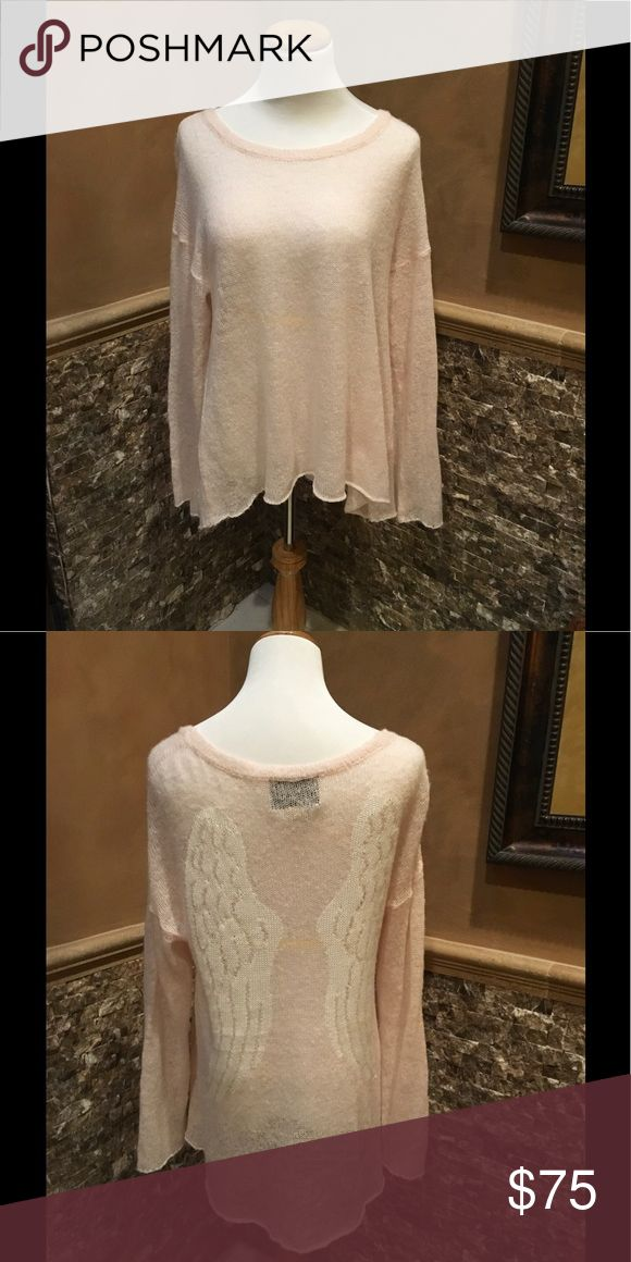Wildfox Sweater Baby pink sweater with white angel wings. Adorable!! Excellent Condition. Wildfox Sweaters Crew & Scoop Necks