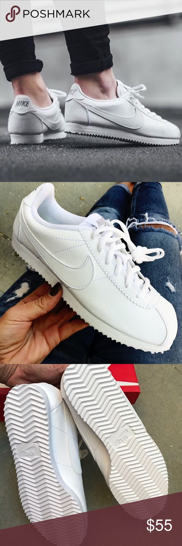 Nike Cortez leather all white shoes womens new Brand new without box. Shoes are a size 6.5 youth which converts into a women's size 8.I have added a size chart for reference. 100% authentic. Ships same day or very next. Nike Shoes Sneakers