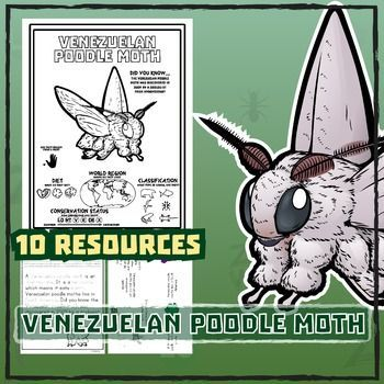 Venezuelan Poodle Moth -- 10 Resources -- Coloring Pages, Reading & Activities
