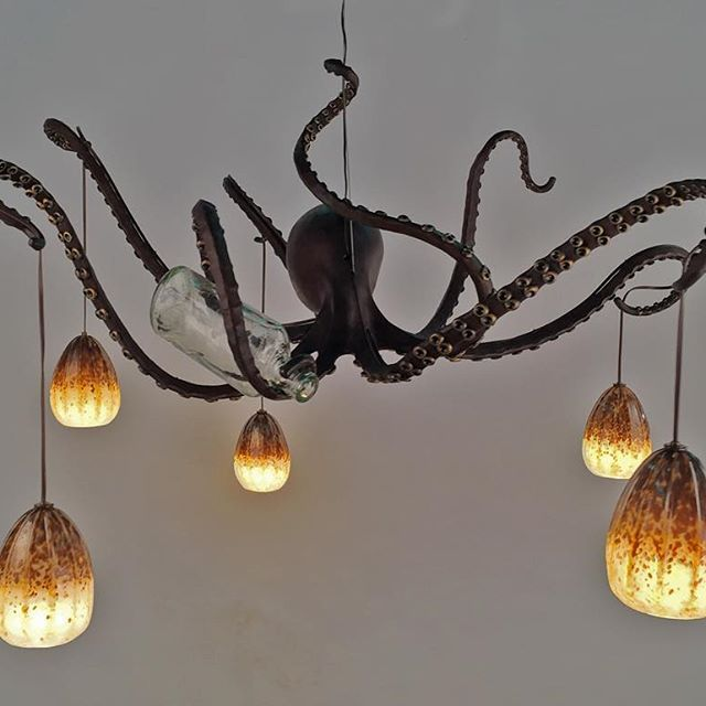 Drunk Octopus Chandelier Lit Up Octopi Lighting