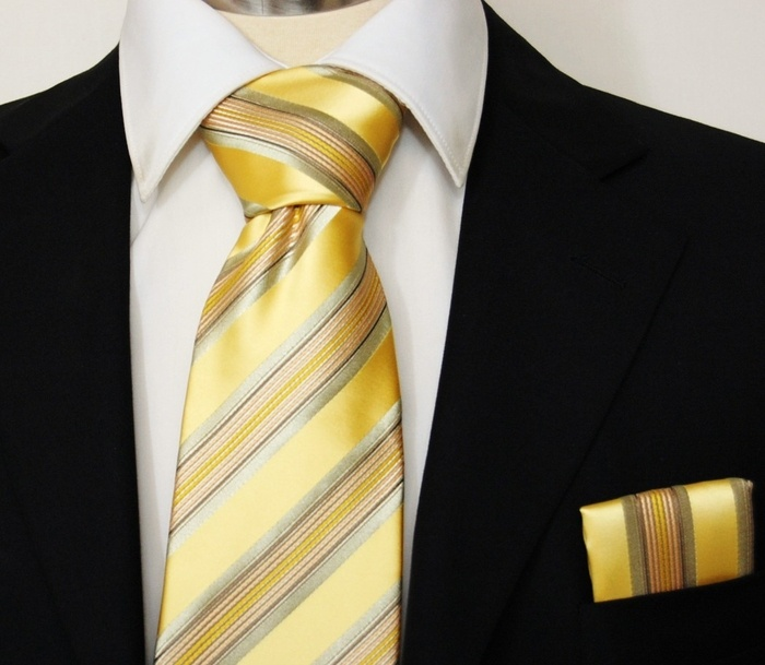 Yellow Gold Striped Men's Necktie and Pocket Square (Q14)