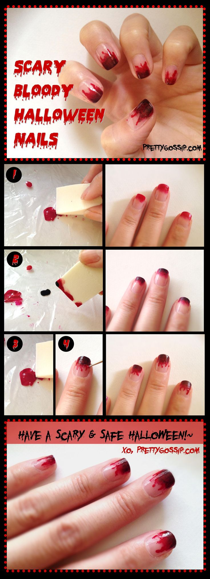 PrettyGossip- Bloody Scary Halloween Nail Tutorial