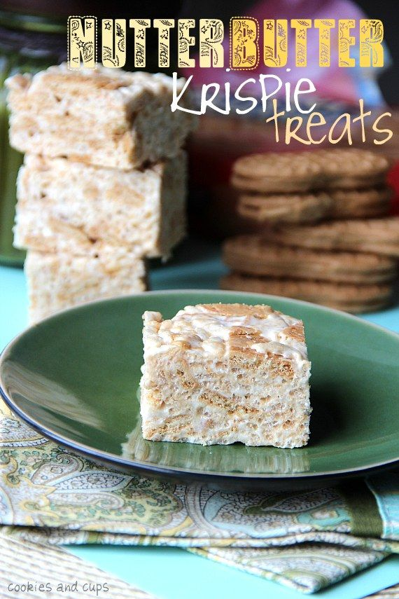 Two great desserts combine to form a new, awesome sounding sweet treat in this recipe for Nutter Butter Rice Krispie Squares. #Nutter_Butter #rice #krispie #treats #squares #peanut_butter #dessert #food