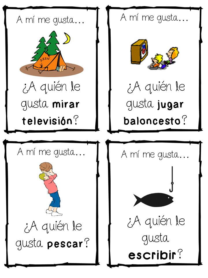 """Variation of traditional """"Zip Around"""" for Spanish immersion classrooms.  Kids ask, """"A quien le gusta....?"""" and then the student who has the corresponding picture answers """"A mi me gusta."""" Great for reviewing """"gustar"""""""