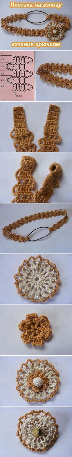 """Летняя повязка """"хайратник"""" (вязание крючком) #crochet"""