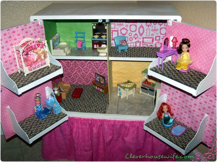DIY Dollhouse from Repurposed Furniture. Thrift store tv stand, turned into a dollhouse: Diy Dollhouse, Idea, Craft, Girl, Diy'S, Repurposed Furniture, Tv Stand, Dollhouses