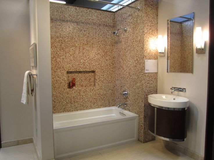 bathrooms - Tile, from, the, Tile, Shop,  Glass tile tub surround, ceramic floor tile, hanging Kohler vanity