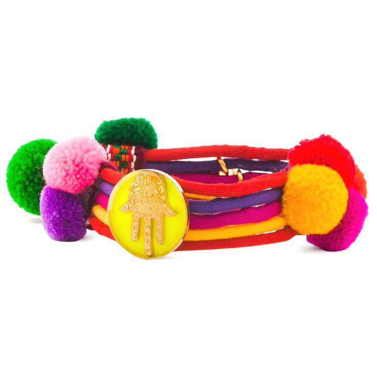 Dana Levy   Neon Hamsa Hand Lucky Charm Pom Pom Bracelet