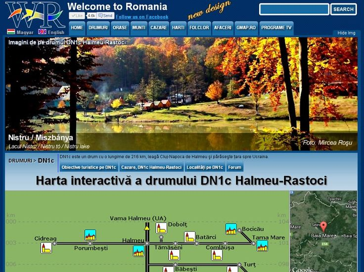 Road DN1C Halmeu Rastoci 111 km, passing through the Baia Mare city, with all the sights that you can see if you travel on this road http://www.welcometoromania.ro/DN1c_Halmeu_Rastoci/DN1c_Halmeu_Rastoci_Harta_Obiective_e.htm
